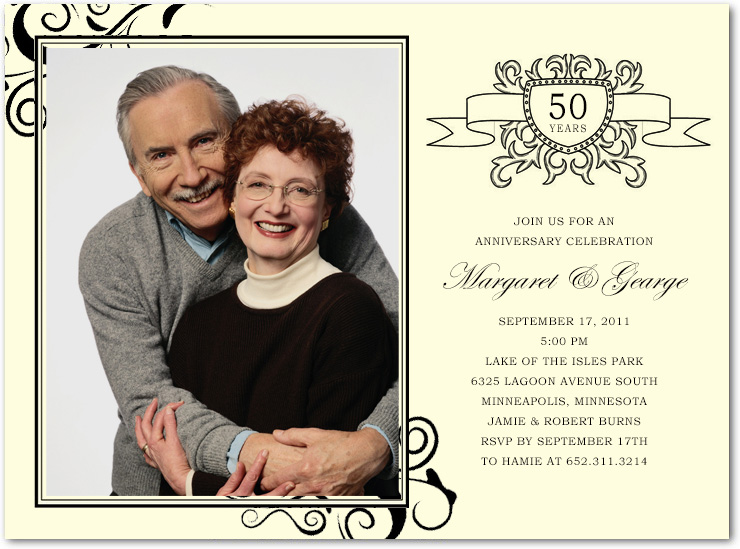 Golden Wedding Photo Anniversary Celebration Invitations HPA189
