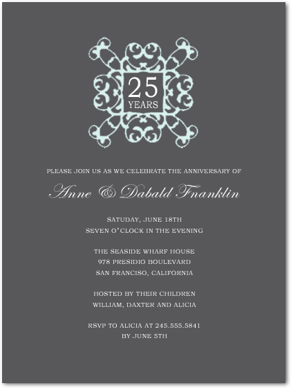 Exquisite Sliver Wedding Anniversary Party Invitations HPA191