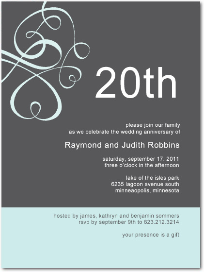 Simple but modern is the style and harmonious color of this wedding anniversary invitation.Abstract lines in sweetheart shape and other shape for imagination.
