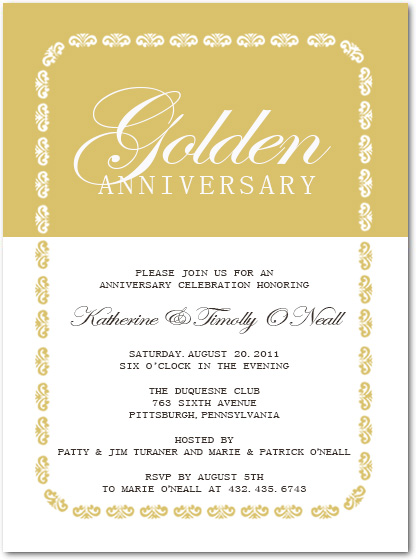 Golden And White Classic Anniversary Celebrate Invitation HPA197