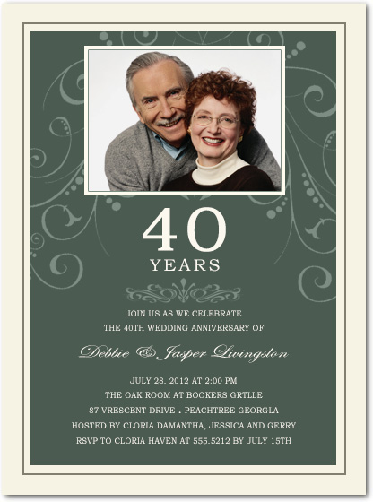 Charming Floral Photo Anniversary Invitations HPA200