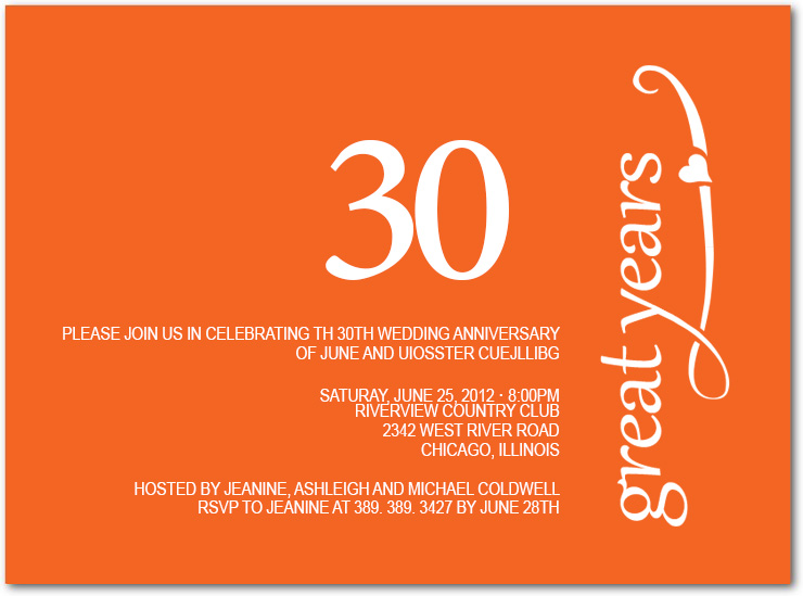 Elegant Script Orange Anniversary Party Invitation HPA208