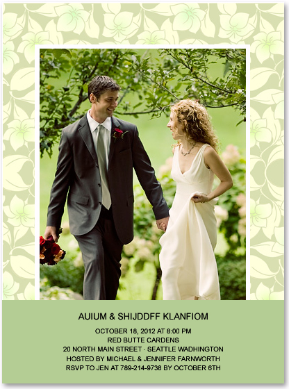 Flower Pattern Photo Anniversary Party Invitations HPA210