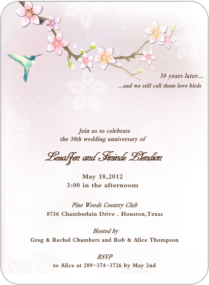 Flower And Bird Anniversary Party Invite HPA211
