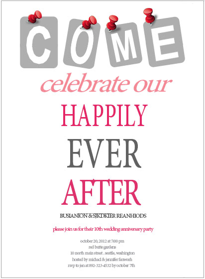 Modern Bold Text Anniversary Party Card HPA214