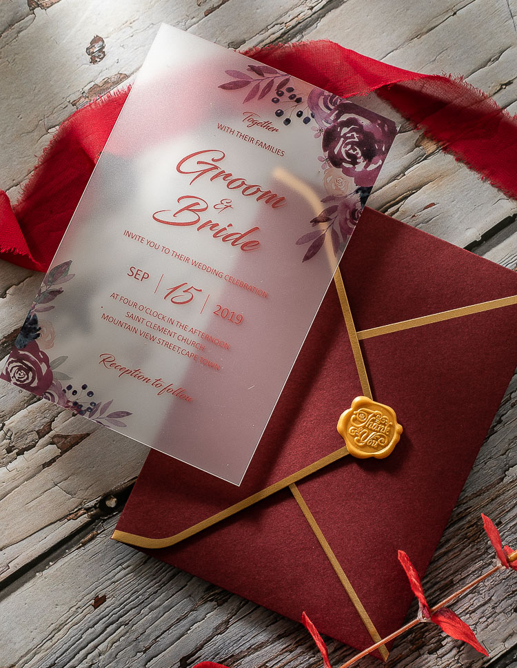 Floral Pattern Acrylic Wedding Invitations with Cherry HPA287