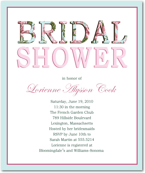 Classic But Fashion Text Bridal Shower Invitations HPB103