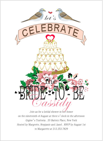 Love Birds With Heart Cake Bride To Be Invitation HPB104