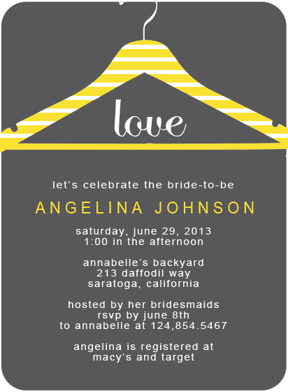 Lemon And Grey Hanger Bridal Shower Invitation Card HPB118
