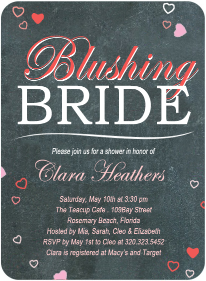 Sweetheart Blackboard Bridal Shower Invitation Card HPB121