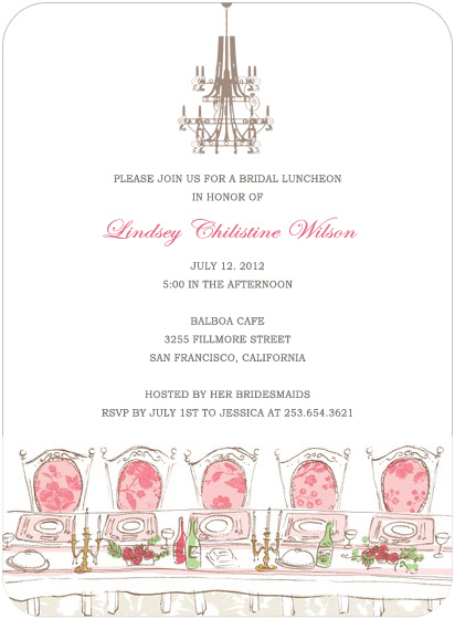 Chandelier And Table Bridal Shower Invitation Cards HPB122