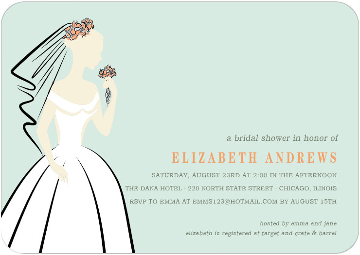 Elegance Bride Figure Bridal Shower Invitations HPB123