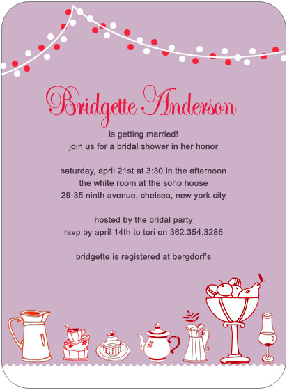 Snack Bowls And Tea Bridal Shower Invitation HPB127