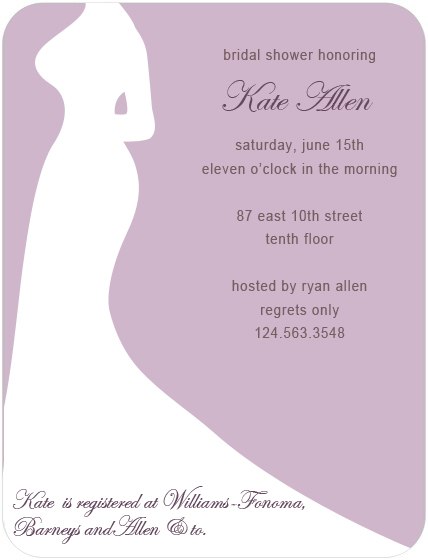 Elegance And Curve Silhouette Bridal Shower Invitations HPB132