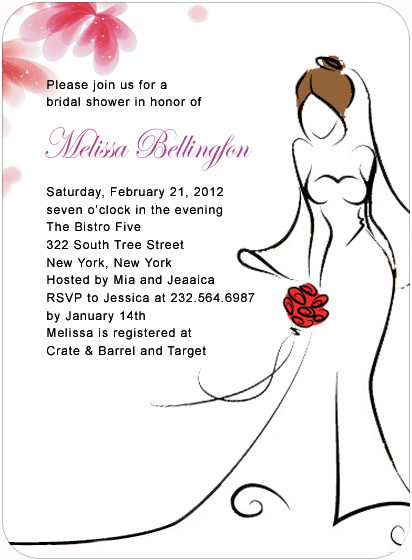 Dress Floating Bridal Shower Invitation Cards HPB133