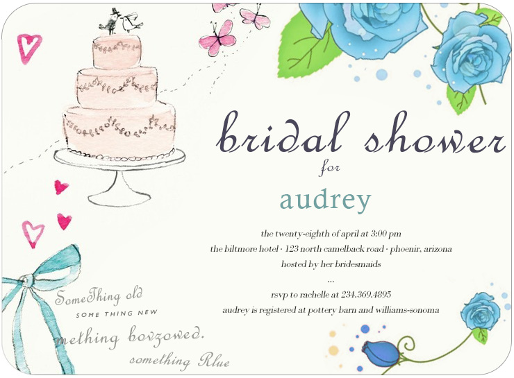 Sketchbook Cake Flowers Bridal Shower Invitation HPB134