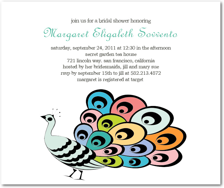 Tail Peacock Bridal Shower Invitation Cards HPB136