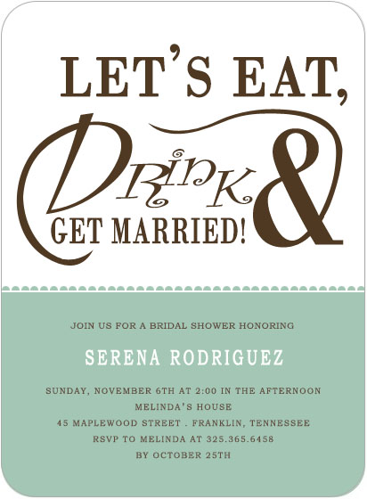 Eat And Drink Bridal Shower Invitation Cards HPB137