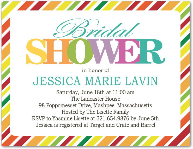 Coloful Lines And Letters Bridal Shower Invitation HPB141