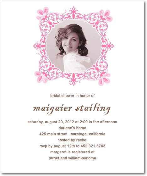 Bride Photo Frame Bridal Shower Invitation Cards HPB146