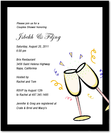 Two Cup Wine Bridal Shower Invitations HPB153
