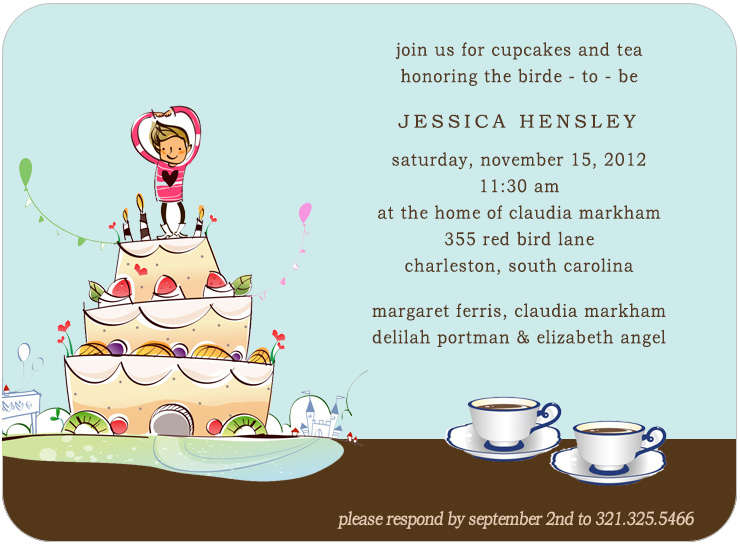 Dancing Candles Cake Bridal Shower Invitations HPB154