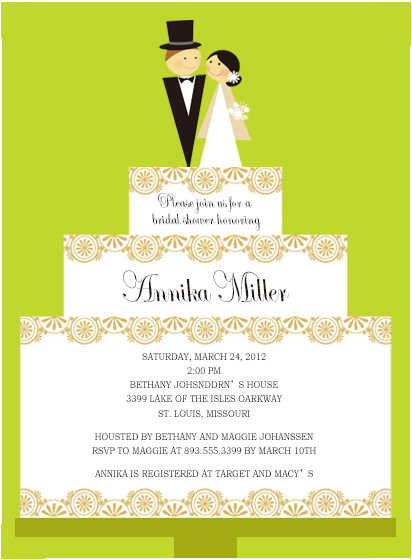 Layered Wedding Cake Bridal To Be Invitations HPB159