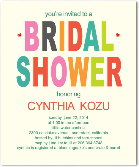Bright Letter Bridal Shower Party Invitations HPB160