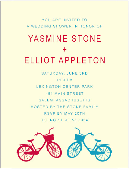 Couple Bicycle Colors Bridal Shower Invitations HPB165