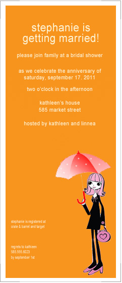 Cute Girl With Cute Umbrella Bridal To Be Card HPB166