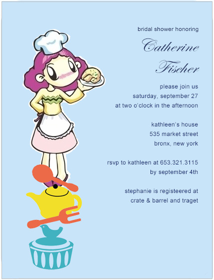 Cute Lady Chef With Kitchen Items Bride To Be Invitation HPB169
