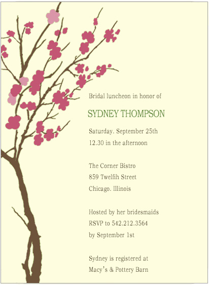 Watercolor Cherry Flowes Tree Bride To Be Invite Cards HPB186