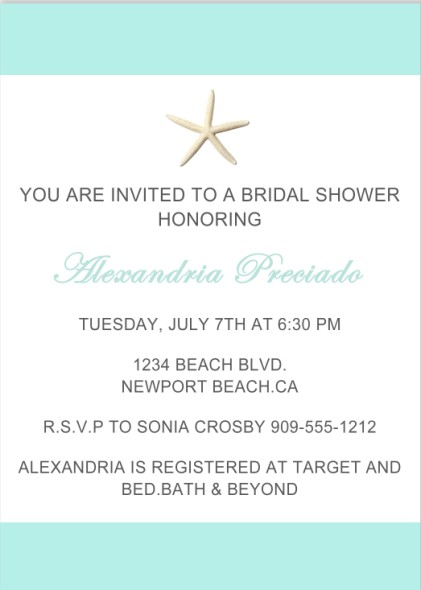 Starfish Beach Teal Bridal Shower Invitations HPB275