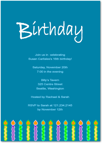 Colorful Birthday Candles Birthday Party Invitation Card HPBP108