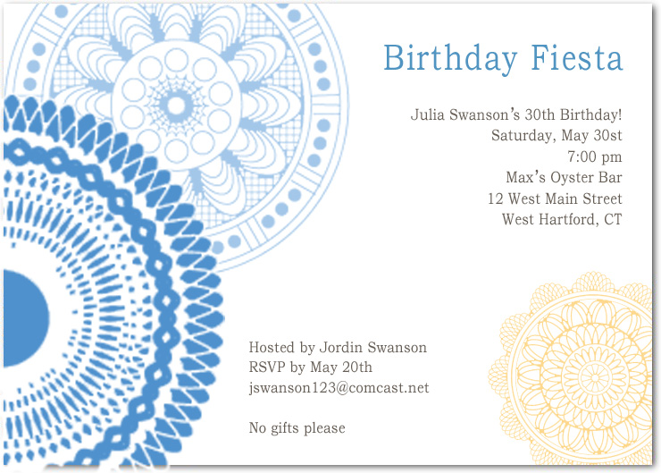 Delicate Dishes And Doilies Birthday Party Invitations HPBP110