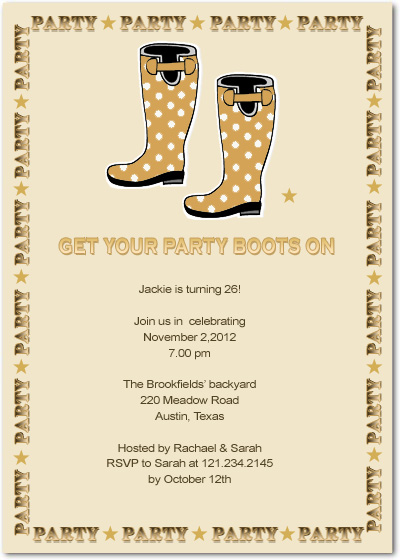 Cute Boots Birthday Party Invitation Cards HPBP111