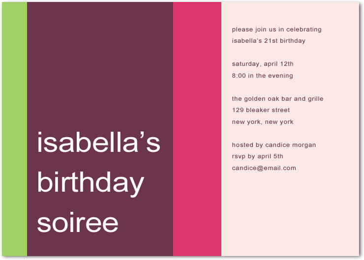 Colorful Bold Soiree Adult Birthday Party Invitations HPBP172