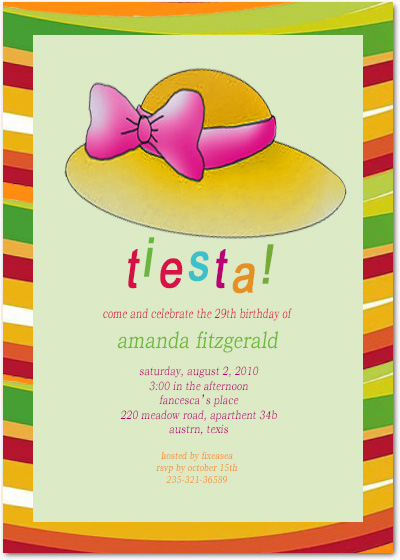 Fiesta Lady Cap Birthday Party Invitation Cards HPBP174