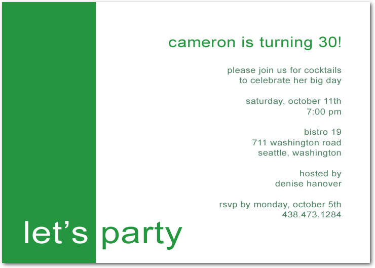 Green Simple Let's Party Birthday Invitation Cards HPBP175