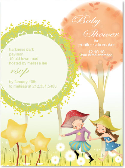 Fairy Tale Baby Shower Invitation card HPBS220