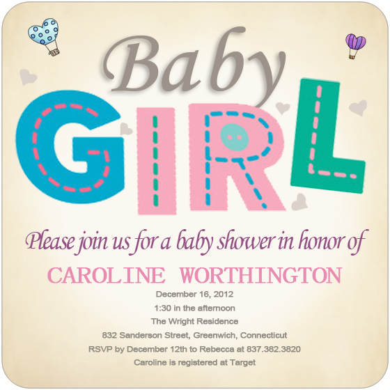 Colourful Girl Baby Shower Invitation HPBS221