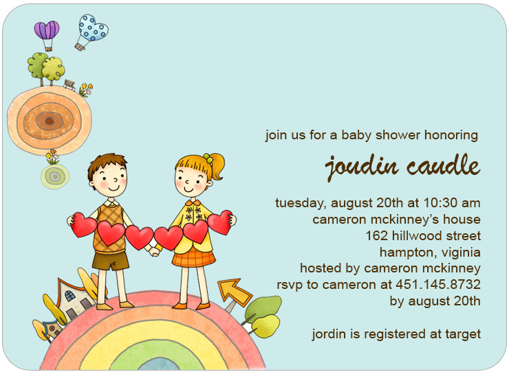 Balloon And Earth Baby Shower Invitations HPBS224