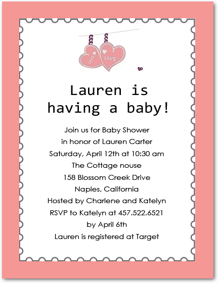 Love Heart Baby Shower Invitations HPBS225