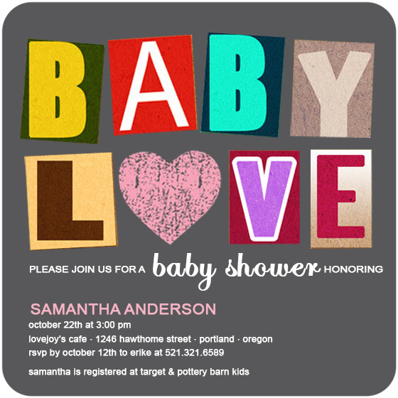 Richly Figured Colorful Baby Shower Invites HPBS229