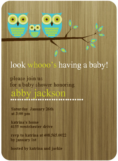Owl Families Baby Shower Invitations HPBS232