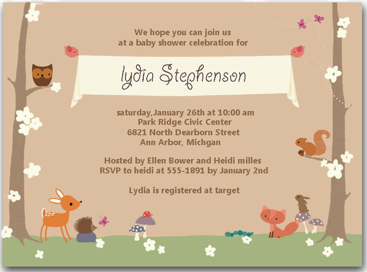 Animal Forest Garden Baby Shower Invitations HPBS233