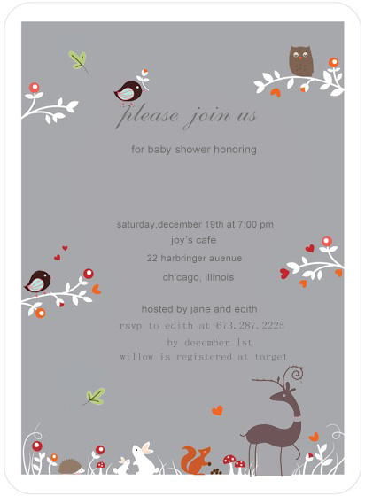 Gray Singing Birds Baby Shower Invitation Cards HPBS234