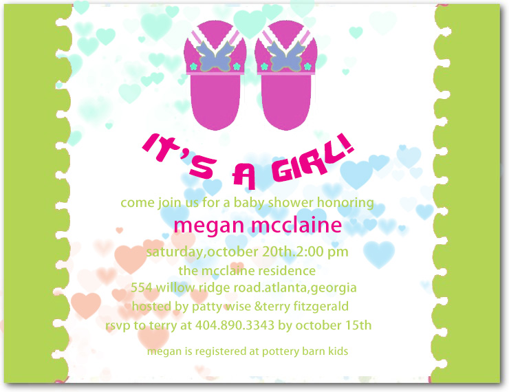 Pink Slipper Girl Baby Shower Invitations HPBS236