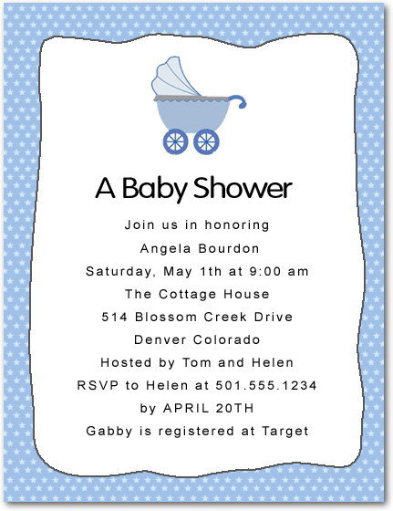 Stars Background Baby Buggy Shower Invitation Card HPBS240