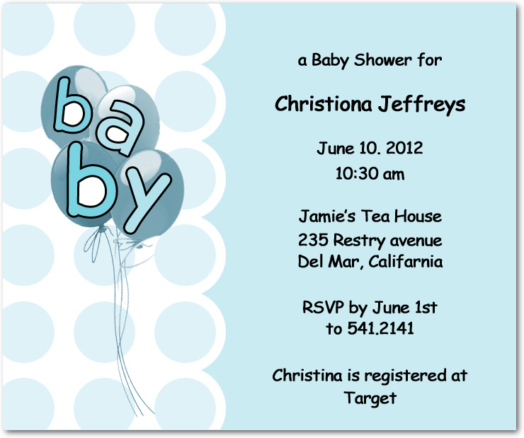 Balloons And Circles Baby Shower Invitation Cards HPBS241